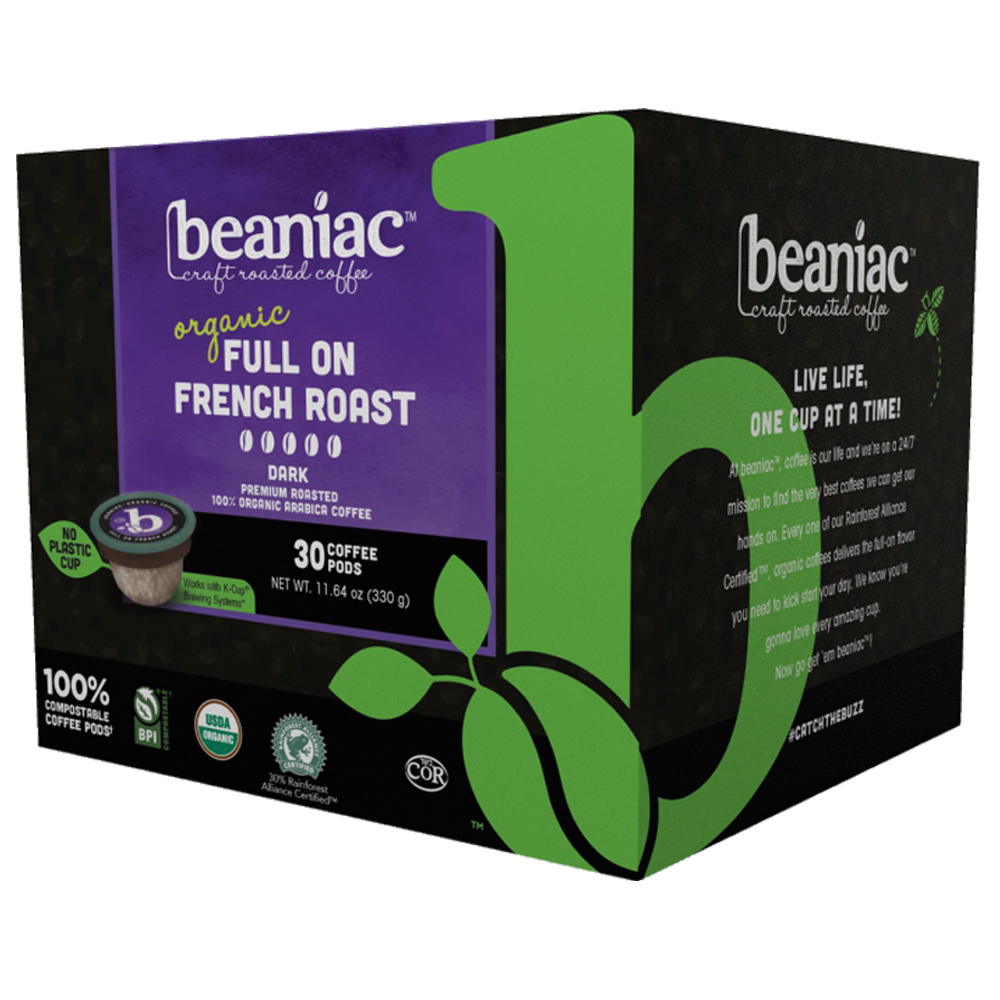 beaniac Full On French Roast - Dark Roast Coffee Pods