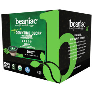 Beaniac decaf coffee pods pack case